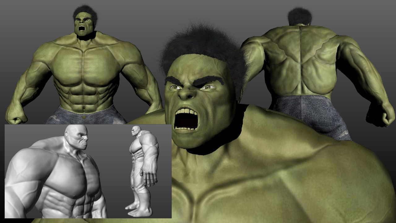 PACK 2 en 1 – Creando a Hulk, modelado, texturizado y cabello