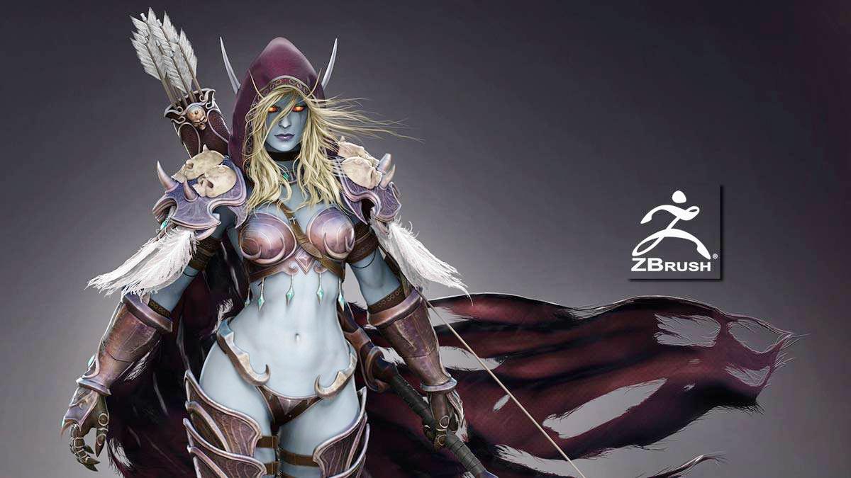 PACK 4 en 1 – Anatomía, armadura, textura y pose de un personaje realista en ZBrush: Sylvanas